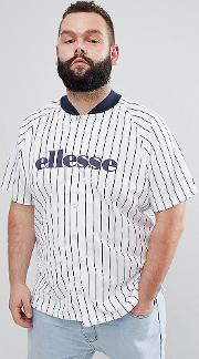 striped baseball  shirt in white