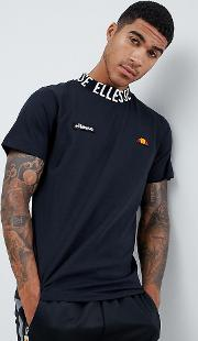 t shirt with repeat logo neckline  black