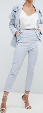 cropped frill tailored trouser