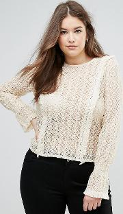 lace blouse with fluted sleeve