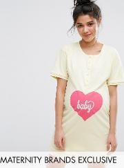 baby button front nursing nightdress