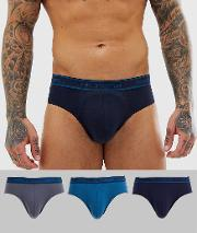 3 Pack Briefs With Contrast Waistband