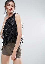 Sleeveless Top With Fringed Detail