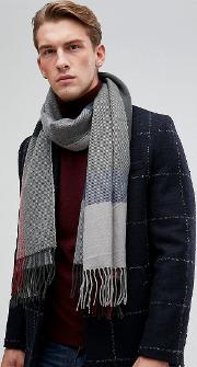 Check Scarf In Navy