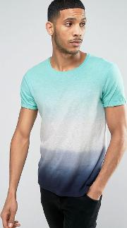 Crew Neck  Shirt With Faded Stripe Print