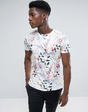 crew neck t shirt with all over palm print