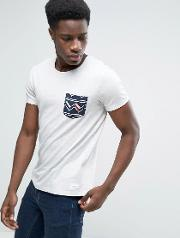 crew neck t shirt with printed pocket detail