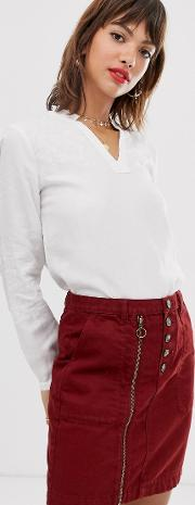 Embroidered Blouse With V Neck