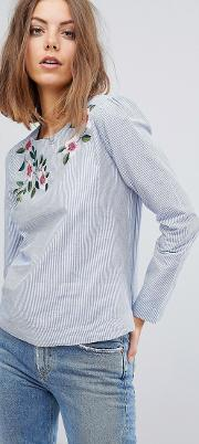 embroidered stripe blouse
