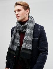 scarf in black mixed stripe
