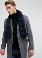 scarf in houndstooth  navy