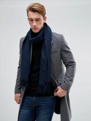 Scarf With Two Tone Knit In Black