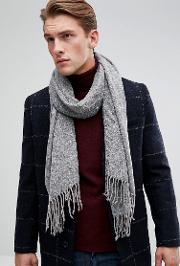Scarf With Two Tone Knit In Grey