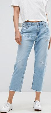 straight fit distressed jeans