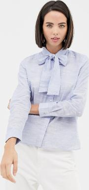Tie Neck Chambray Blouse