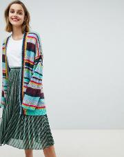 oversized rainbow stripe cardigan