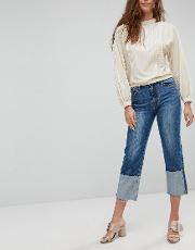 workmans jeans with exaggerated turn up