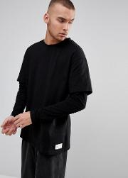 oversized layered long sleeve t shirt in black