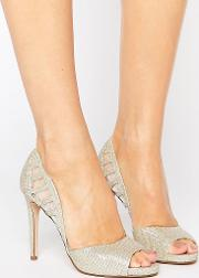 Carbo Metallic Cut Out Heeled Shoes