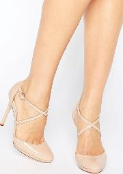 clara nude strappy heeled shoes