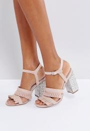 florence suede frill heeled sandals