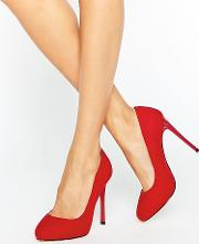 candy red court shoes