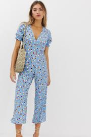 Faithfull Mallory Floral Jumpsuit With Frill Sleeve