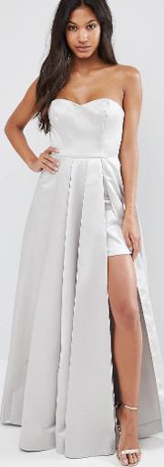 maxi structured prom dress in satin