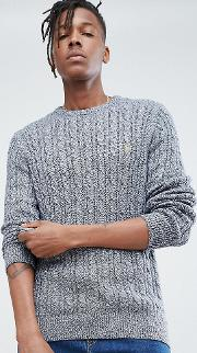 ludwig twisted yarn cable knit jumper in navy fleck