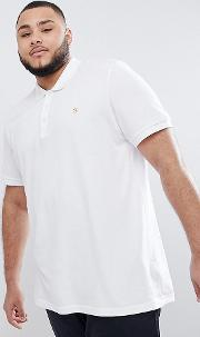 plus blaney slim fit pique polo in white