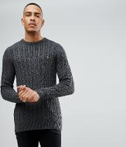 tall lewes twisted marl cable jumper in charcoal