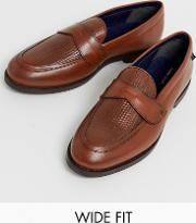 Wide Fit Leather Woven Loafer