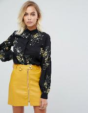 Balloon Sleeve Shirt In Bold Floral Bloom Print