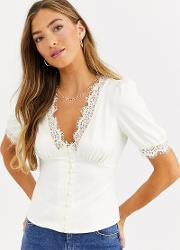 Button Front Sateen Blouse With Eyelash Lace Trim