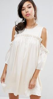 cold shoulder dress with frill