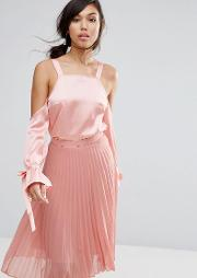 Cold Shoulder Top In Satin