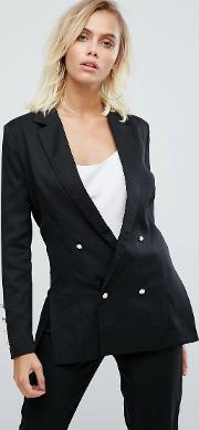Double Breasted Blazer With Pearl Buttons