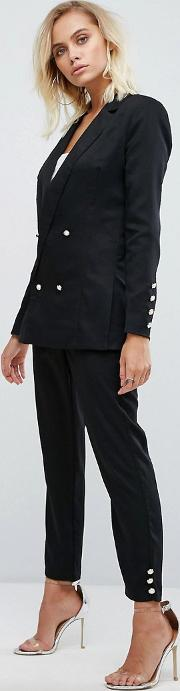 high waist trouser with pearl buttons