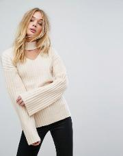 Knitted Jumper With Choker Cut Out