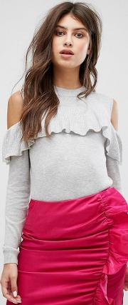 Knitted Jumper With Cold Shoulder & Frill Detail