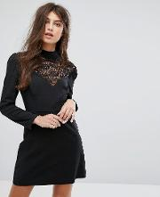 long sleeve dress with high neck in lace