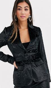 Tailored Blazer With Belted Waist