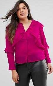 blouse with ruffle layers in sheer fabric