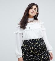 high neck blouse with   and ruffle detail