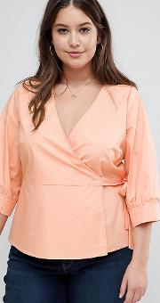 Wrap Blouse With Balloon Sleeves
