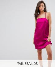 cami slip dress with double straps in satin