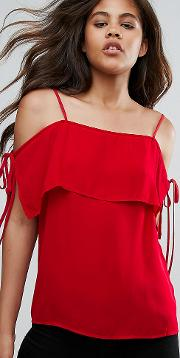 Cold Shoulder Cami Top With Tie Sleeves