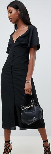 Maxi Dress With Flutter Sleeves