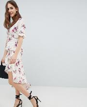 wrap skirt with asymetric ruffle hem in vintage floral co ord
