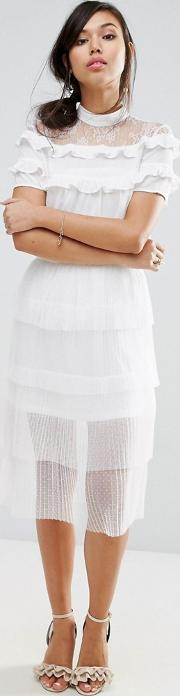 tiered midi skirt in pleat